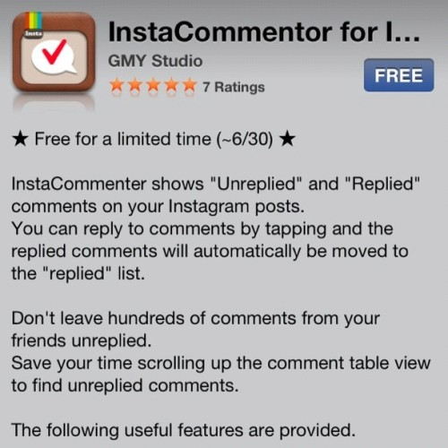 InstaCommentor for Instagram for free. Don't let unanswered Instagram comments go, engage folks! #socialnetwork (Taken with Instagram)