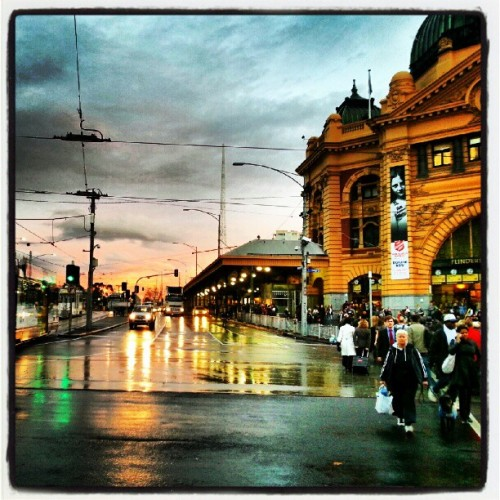 Sunset at Flinders Street Station… #sunset #flindersstreet #melbourne #australiathetropicalparadise ;)  (Taken with Instagram)