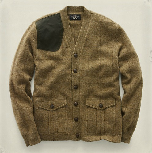 RRL Hunting Cardigan V-neck cardigan intarsia-knit in British felted Geelong wool. With Oils cloth patches. In the sale at RRL online. RRL (UK)