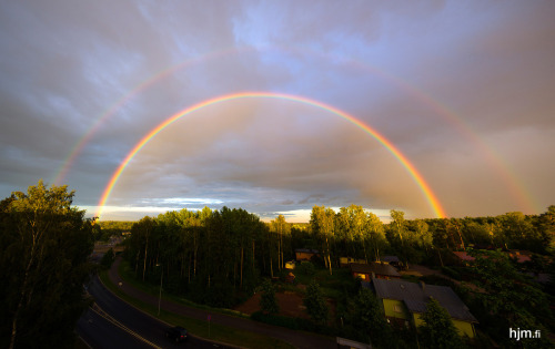 The coolest double rainbow interrupted my Euro 2012 semifinal viewing. Never seen a rainbow like this.