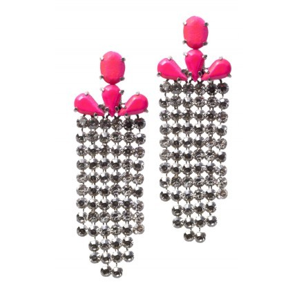 Beautiful Ear Candy By Shourouk The perfect touch of neon to any outfit. If I had these, I would downplay them by wearing them with destroyed jeans short, a rock (or aztec) printed t-shirt and simple flat sandals… Just saying.. ;-)
