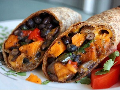 Sweet potato, black bean and roasted pepper wrap with a cilantro and lemon seasoning