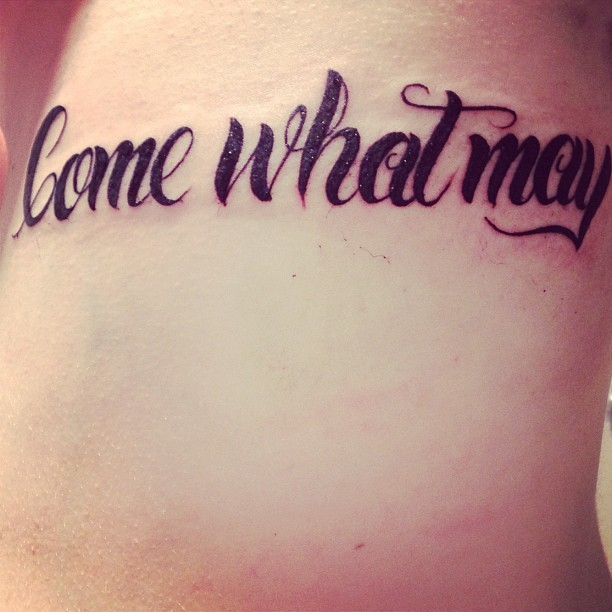 "fuckyeahtattoos:  Freshly done :) ""Come what may"" Done by Esther at Twisted By Design in Bacchus Marsh, Australia.      (via TumbleOn)"
