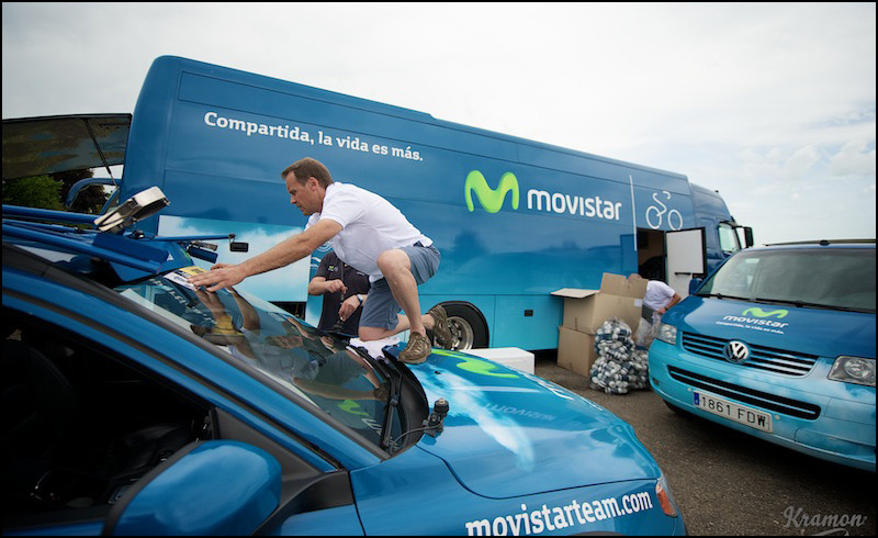 """Compartida, la vida es mas"" ""Shared; there's more to life"" Movistar's motto is a perfect fit for a pro cycling team."