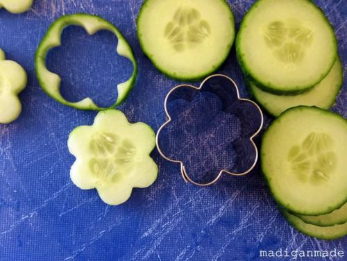 Cookie cutter cucumbers! Awesome idea and then you don't have to peal it!