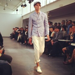 Summer tailoring, short suits and a fresh palette at Junya Watanabe #attheshows #pfw  (Taken with Instagram)