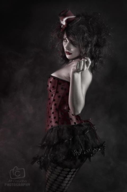 Louella Deville  Photography by Alf Caruana   Corset, tutu, hosiery, fascinator and accessories by Kornelia's Kloset Www.korneliaskloset.com