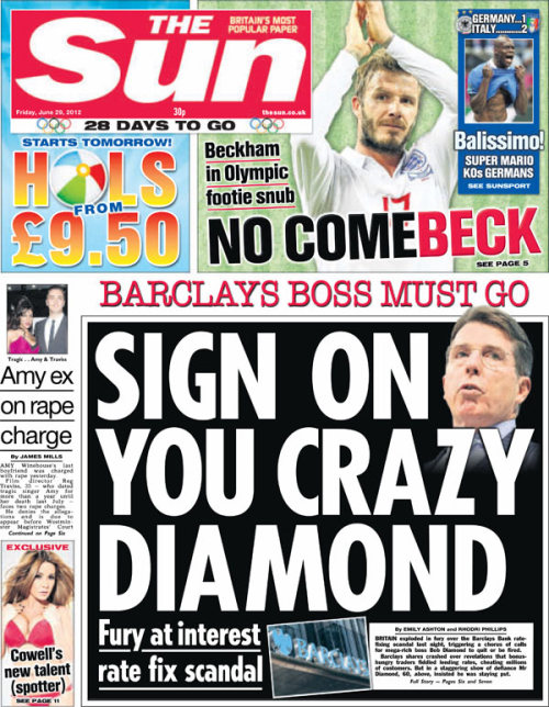if you haven't seen the Sun's front page headline this morning yet…