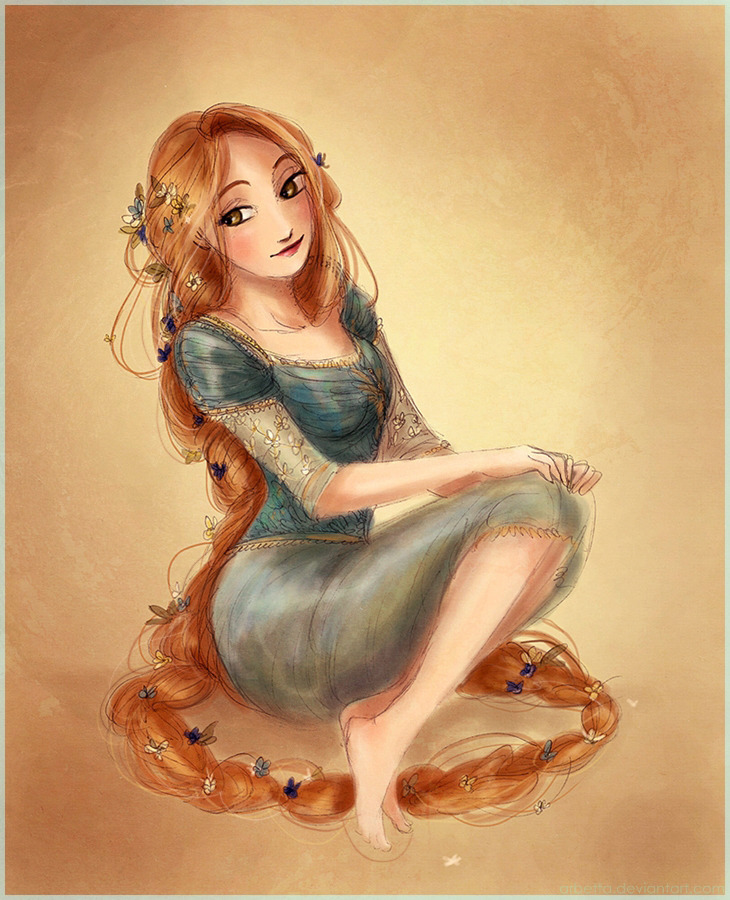 twogranniesandanaxe:  Rapunzel in a blue dress. The next dresses will be red and black… O_O I guess…
