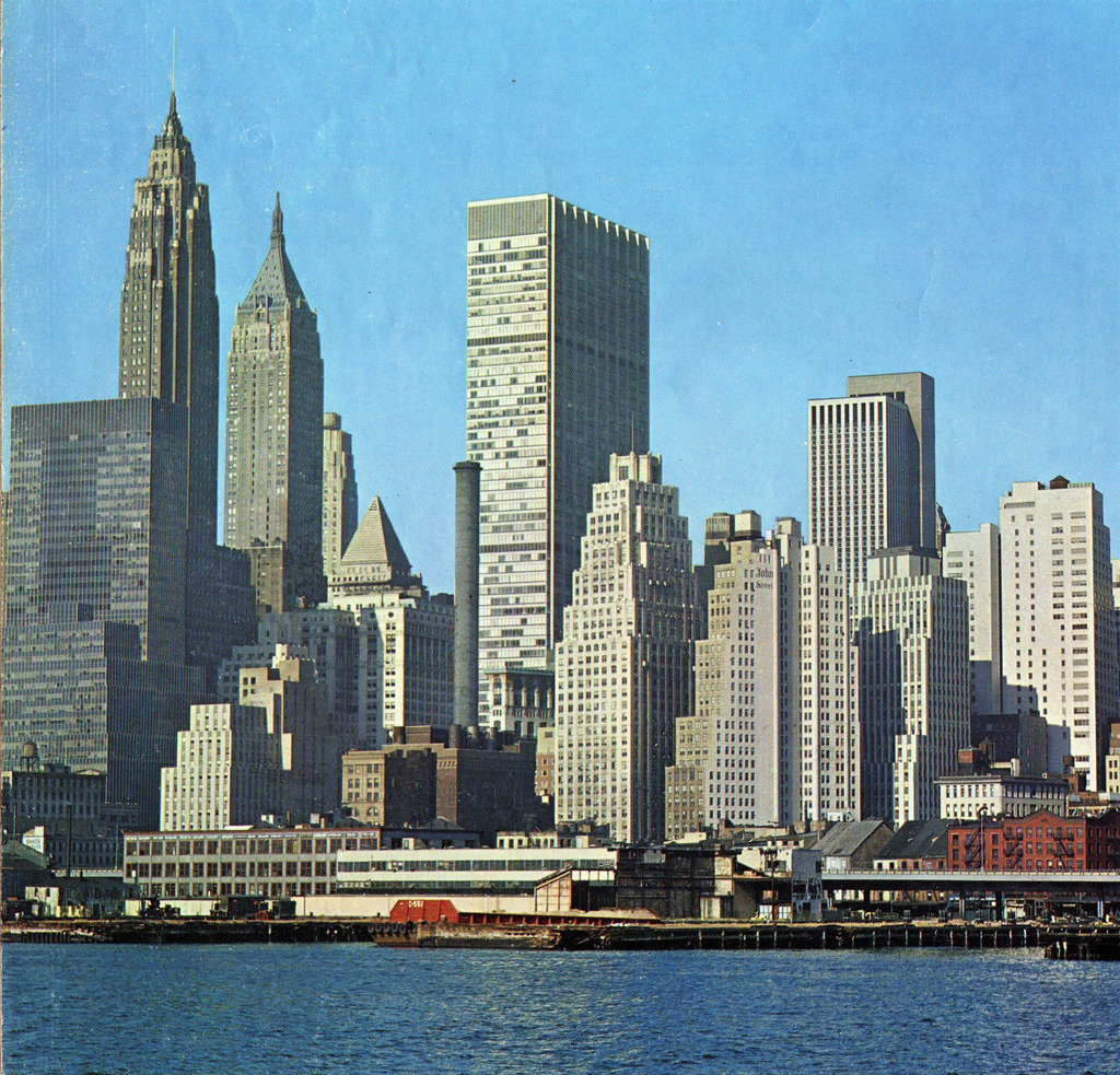 The new face of Lower Manhattan skyline, showing Chase Manhattan Bank Building. 1965.