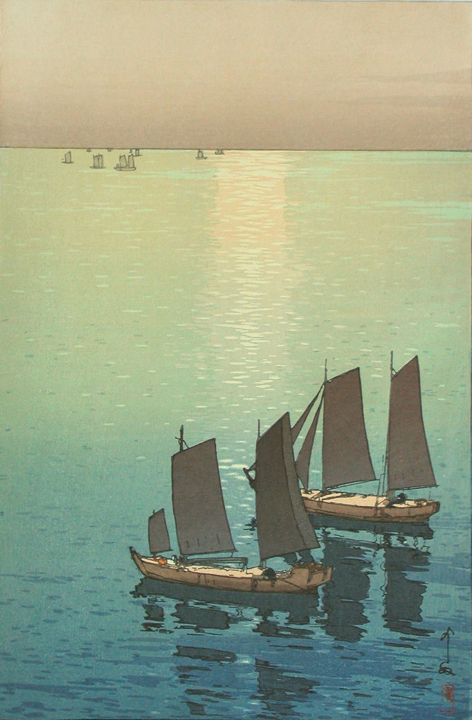 houndeye:  blastedheath:  koris1974 Hiroshi Yoshida (Japanese, 1876-1950), Shining Sea, 1926.  One of my favorite Japanese wood block artists. I own two prints by Hiroshi (a 1st run and a 2nd run) and two 1st-run prints by his son, Toshi - also a successful and well-known wood block master who died in 1995.