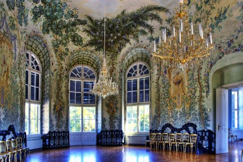 "a-l-ancien-regime:  Schloss Niederweiden :  Great Hall Rococo style chinoiserie by Jean-Baptiste Pillement (1728-1808). Chinoiserie is a French term, signifying ""Chinese-esque"", refers to a recurring theme in European artistic styles since the 17th century which reflecting Chinese artistic influences. It is characterized by the use of fanciful imagery of an imaginary China, by asymmetry in format and whimsical contrasts of scale, and by the attempts to imitate Chinese porcelain and the use of lacquerlike materials and decoration."