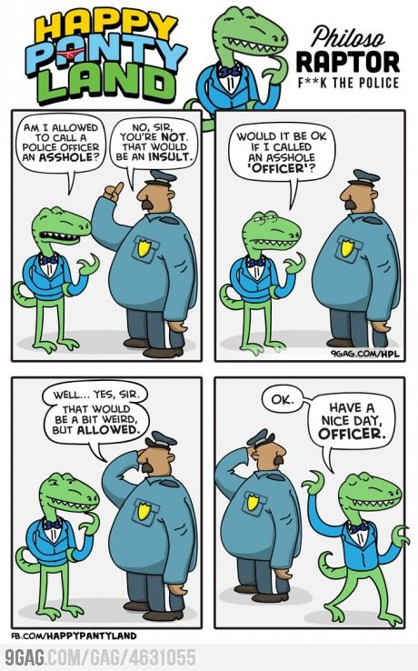 9gag:  Philosoraptor: Fuck The Police