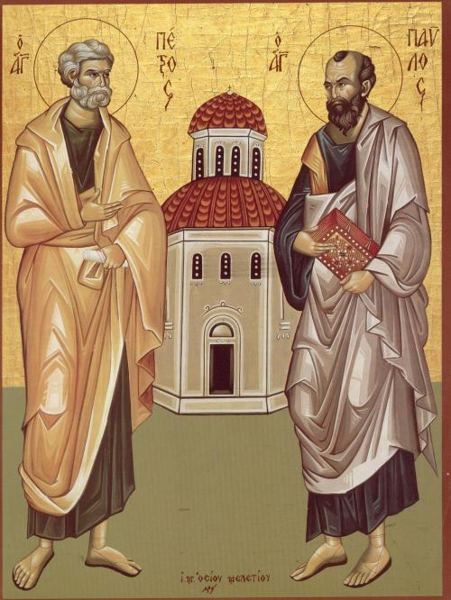 "simplyorthodox:  Ss. Peter and Paul: Having the Rock of Faith Holding Up the Church ""You are Peter, and on this rock I will build My Church, and the gates of Hades shall not prevail against it"" (Mt. 16, 18). The rock (petra) on which the Church is built is Peter's confession that Christ is the Son of God. St. Paul:  ""And He put all things under His feet, and gave Him to be head over all things to the Church, which is His Body, the fullness of Him Who fills all in all"" (Eph. 1, 22-23)."