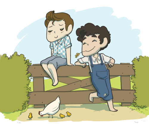 plumey:  Klaine AU Friday: Farmers!Klaine Two neighboring farmer boys have a secret rendez-vous.