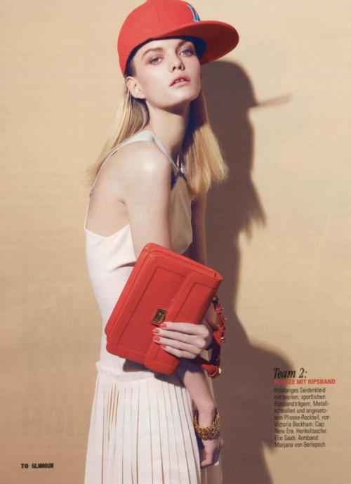 J.P. holding an ELIE SAAB Spring 2012 bag shot by Nagi Sakai and styled by Chi-Young Bang for the July issue of Glamour Germany.