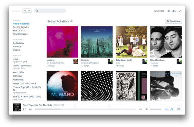 thisistheverge:  Rdio unveils minimal redesign for web and desktop apps  Just when I thought Rdio couldn't look any better! Rdio just went through a big redesign in the last few months, so I'm really surprised to see yet another (even better) huge redesign. This really separates it from the iTunes-like look it had before and Spotify still has. Also, a new app for Rdio called Setlist just came out, which finds what bands from your Rdio collection are playing soon near you. It's a simple, does one thing well kind of app. Well worth those big 99 cents.