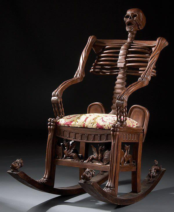 spookyhome:  mariasvarela:  Skeleton rocking chair. Carved wood. Russia, 19th century. From: https://www.facebook.com/grotesqMB  I would love to meet the mother that rocked her child to sleep in THIS chair.