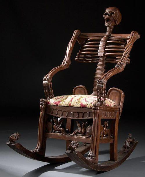 mariasvarela:  Skeleton rocking chair. Carved wood. Russia, 19th century. From: https://www.facebook.com/grotesqMB  I would love to meet the mother that rocked her child to sleep in THIS chair.