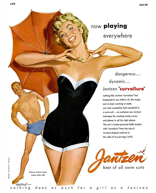 Advertisement for Jantzen swim suits, from Life magazine, June 8, 1953Illustration: Pete Hawley  Source: Today's Inspiration