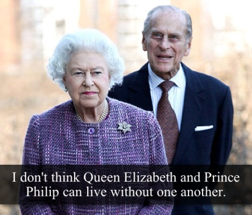 "royal-confessions:  [Post by Mary] ""I don't Think Queen Elizabeth and Prince Philip can live without one another"" — Submitted by Anonymous  So much truth!"