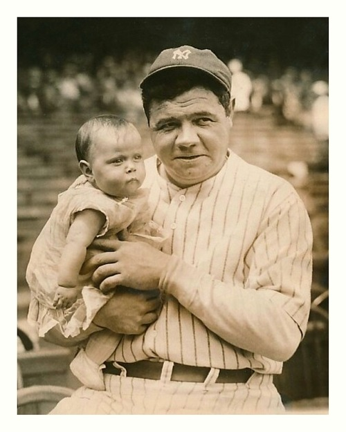 Babe Ruth & Baby Mildred Pinkenfeld Yankee Stadium - Summer 1927