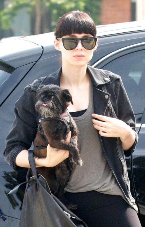 nycbrusselsgriffon:  Girl with a super cool dog. Rooney Mara & her dog. Please note that we are aware that the dog looks like an Affenpincher; it is either Affenpicher or Griffon. For the intent & purpose of this blog, and because we really like her and her style she's in the fraternity of Griffon. I have been trying to get solid info either way so if any one of you out there know; please send us a note and let us know.
