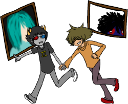 ((Some Sollux/Badger from a roleplay with biipolara22hole, based off this video. Art is by me, Sollux is by Hussie, Badger is by Level-5. Crossover couple? Crossover couple.))