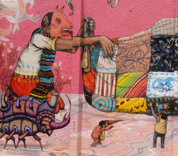 Mexican Folk Art Mural by Ilhuicamina on Flickr.