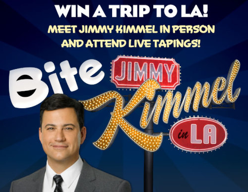 "Want a chance to meet Jimmy Kimmel in person and attend a week of tapings of Jimmy Kimmel Live in L.A.? Then go to Bite's Facebook page to submit a video telling us why you should be picked to ""Bite Kimmel in LA"", then use your social media influence to rally all your Facebook friends and Twitter followers to vote on your video. The top 10 videos that receive the most votes enter the final round where one lucky fan will be picked to win. So upload your video and tell us why you should get to ""Bite Kimmel in L.A""."