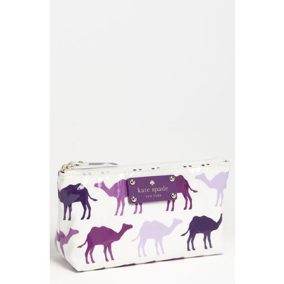 How fun is this camel print, cosmetic pouch from Kate Spade? She has the best colors & patterns. $58  Kate Spade bags case