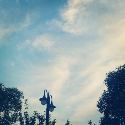 Look for the moon #sky #blue #clouds #moon #summer  (Taken with Instagram)
