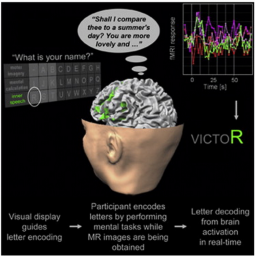 "Mind-reading Speller Enables Conversation for Patients in Vegetative State  The first real-time brain-scanning speller will allow people in an apparent vegetative state (unable to speak or move) to communicate, according to Maastricht University scientists. The new technology builds on earlier uses of fMRI (functional magnetic resonance imaging) brain scans by Adrian Owen and colleagues to assess consciousness by enabling patients to answer yes and no questions. fMRI tracks brain activity by measuring blood flow. ""The work led me to wonder whether it might even become possible to use fMRI, mental tasks, and appropriate experimental designs to freely encode thoughts, letter-by-letter, and therewith enable back-and-forth communication in the absence of motor behavior,"" said Bettina Sorger of Maastricht University in The Netherlands.  (via Mind-reading speller allows full conversations for vegetative-state patients 