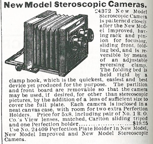 Finally, a stereoscopic camera. Even though I can never get the effect, I love the old stereo view cards, too.