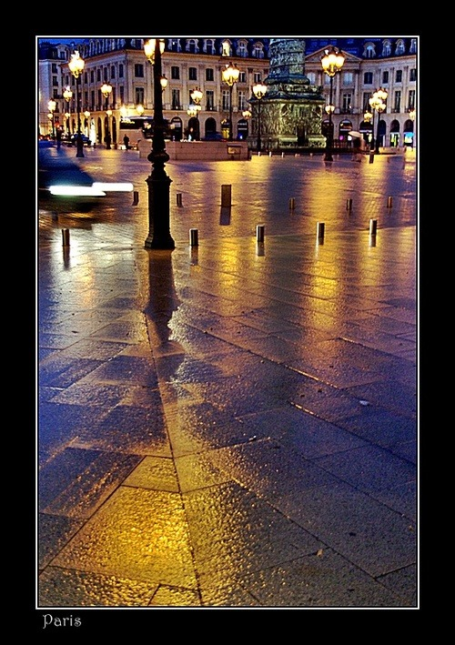 microwalrus:  :: H & A :: tumblr - Lights after rain on Place Vendôme,Paris, a photo from…
