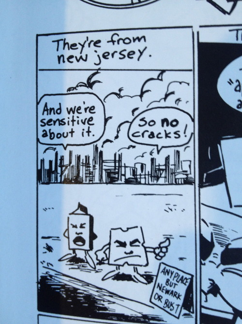 felinejumper:  Apparently there's a comic about milk and cheese from New Jersey.  and here is where i feel old for not only having all the issues of Milk and Cheese, but a bunch of the trading cards AND the lunchbox as well.  oh, the 90s.