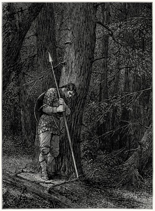 oldbookillustrations:  In the vast forest here, Clad in my warlike gear, Fell I upon my spear Mary A. Hallock Foote, from The skeleton in armor, by Henry Wadsworth Longfellow, Boston, 1877.