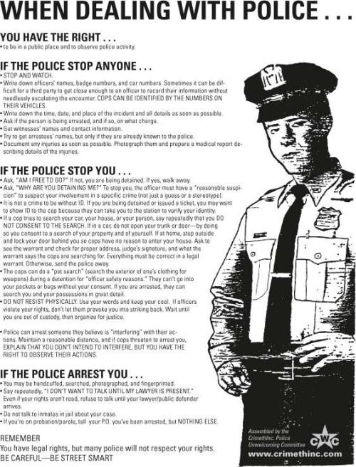 whathappened2rich:  What to do if stopped by the police.
