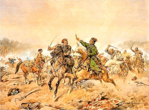 "fyeah-history:  Jan Chryzostom Pasek in the Battle of Lachowicze during the Russo-Polish War, 1660The Battle of Polonka (Połonka) took place near Polonka during the Polish-Russian War (1658-1667) on June 29, 1660 between Polish-Lithuanian and Russian forces. Polish-Lithuanian forces under Stefan Czarniecki and Paweł Jan Sapieha forced a Russian retreat through a carefully planned hussar ambush and several tactically effective flanking maneuvers. The Russian defeat also meant they had to abandon the siege of Lyakhavichy (Lachowicze). The Russo-Polish War of 1654–1667, also called Thirteen Years' War, First Northern War, War for Ukraine was the last major conflict between Tsardom of Russia and the Polish-Lithuanian Commonwealth. Between 1655 and 1660, the Second Northern War was also fought in the Polish-Lithuanian Commonwealth, thus these theatres are known in Poland as ""The Deluge"". Although the Commonwealth regained her ground after initial defeats, and won most of the battles, its plundered economy was not able to fund the long conflict. Facing internal crisis and civil war, Poland was forced to sign a bitter truce. The war ended with significant Russian territorial gains and marked the beginning of the rise of Russia as a great power in Eastern Europe."