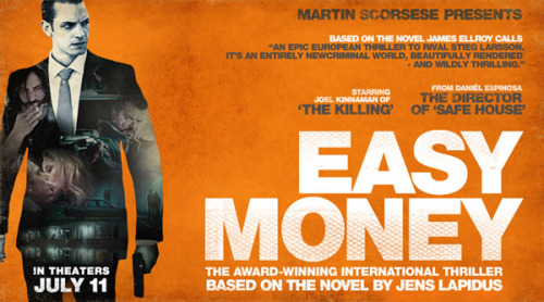 The film version of Easy Money is finally coming out in the U.S. on July 11th!  Directed by Daniel Espinosa (Safe House), EASY MONEY is a Swedish crime thriller based on the international best-selling novel Snabba Cash by Jens Lapidus. Lower-class business student JW (Joel Kinnaman from AMC's 'The Killing') falls in love with a sexy heiress while living a double life mingling with Stockholm's wealthy elite. To keep up the facade of his lifestyle, he's lured into a world of crime. Jorge is a petty fugitive on the run from both the police and Serbian mafia. He hopes that brokering a massive cocaine deal will allow him to escape for good. Mafia enforcer Mrado is on the hunt for Jorge, but his efforts are complicated when he's unexpectedly saddled with caring for his young daughter. As JW's journey ventures deeper into the dark world of organized crime, the fate of all three men becomes entangled and ends with a dramatic struggle for life and death.  More info here.