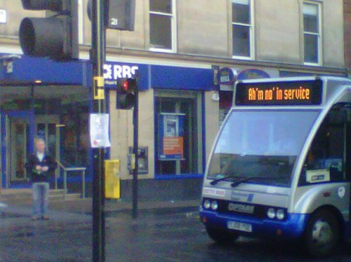 Scottish bus signs Thank goodness I speak the language. (Via yugoslavic.)
