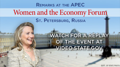 Update: On Friday, June 29 at 11:00 a.m., Secretary of State Hillary Rodham Clinton delivered remarks at the APEC Women and Economy Forum in St. Petersburg, Russia. For more information on the Secretary's trip, go to: http://www.state.gov/secretary/trvl/2012/193455.htm.