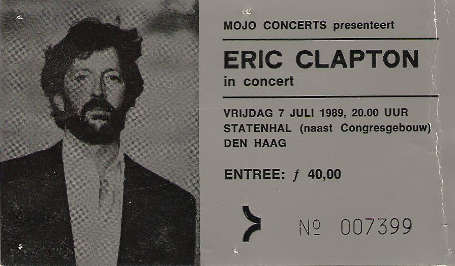 Concert tickets from the past….Eric Clapton, live Statenhal, Den Haag (The Hague), Netherlands, july 7th 1989