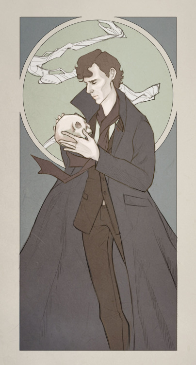 ishipjohnlock247:  nerfiti:  Finished art Deco!Sherlock! One of a series to be completed featuring all our favourite sociopaths, dominatrixes and battered army doctors.  OTHER ART DECOS: John Irene: Light and Dark  just gorgeous  Art Deco…so rarely seen now days, and from the era I wish I could have lived in. This also strongly reminds me of Hamlet. The skull, the pensive look, that overwhelming sense of memento mori.