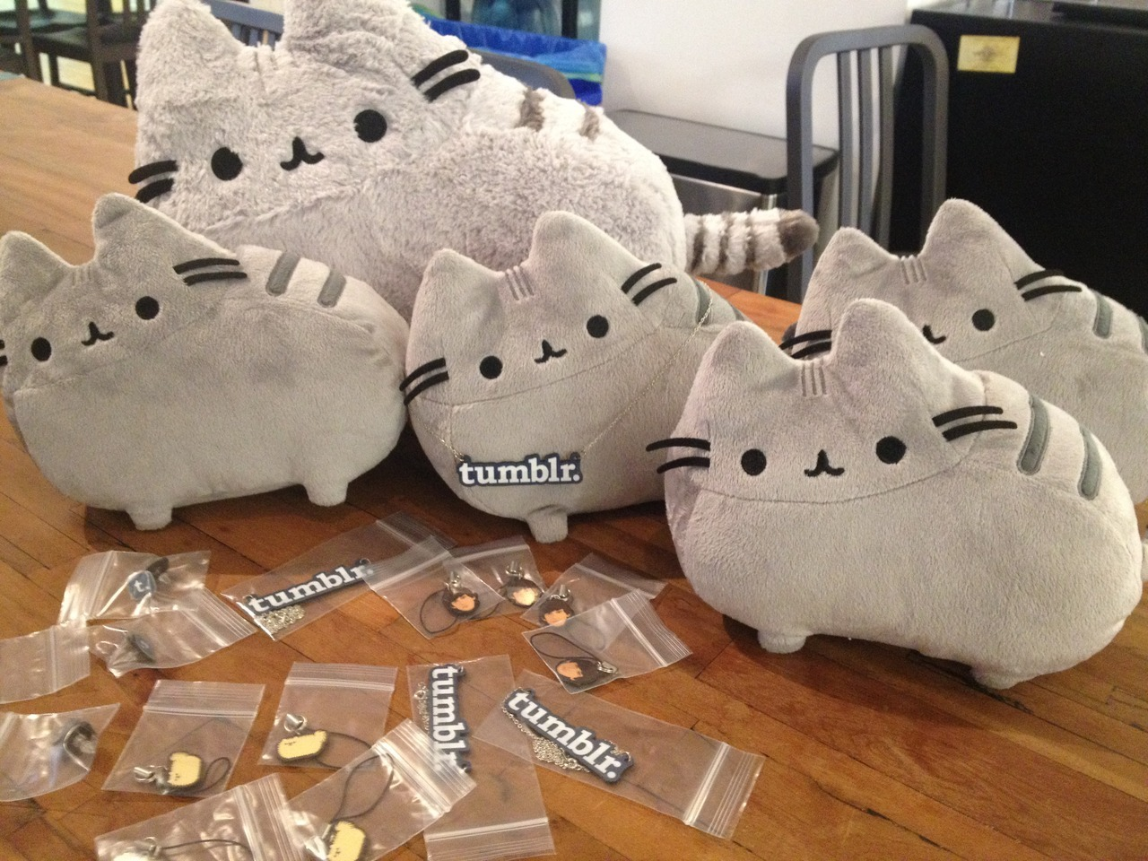 OHMYPOM!!! My pal Pusheen sent in the most amazing box of goodies to the Tumblr office today!! Including little phone charms of yours truly: tommypom! This is unbelievable.. Pusheen is my best friend in the world!!@$!