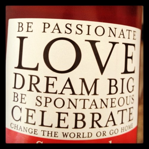 be passionate, love, dream big, be spontaneous, celebrate, change the world or go home (Taken with Instagram)