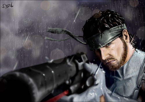 assorted-goodness:  Solid Snake - by Sam Denmark