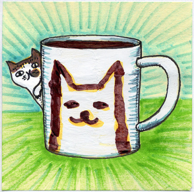 "I drew you a Jake the cat & his mug of coffee I love these little cat doodles by the artist Gemma Correll and this mug was inspired by one of them. This is Jake and his mug. Hope you like it. This is part of my ""The Daily Coffee"" marker drawing series."