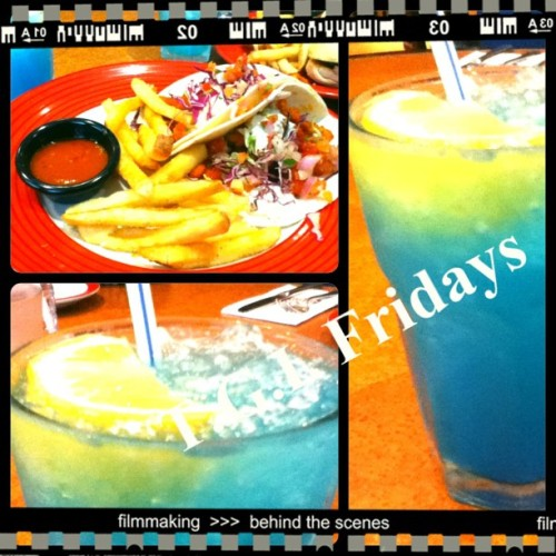 Lunch at T.G.I Fridays.. #instagram #photography #food #TGIF #T.G.I.Fridays #tacos #fries #electriclemonade  (Taken with Instagram)
