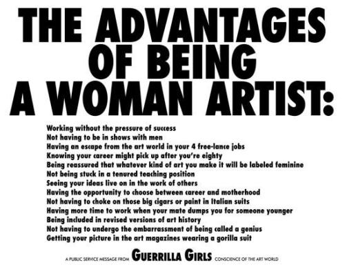"""advantages of being a woman artist"" by guerrilla girls (1989)"